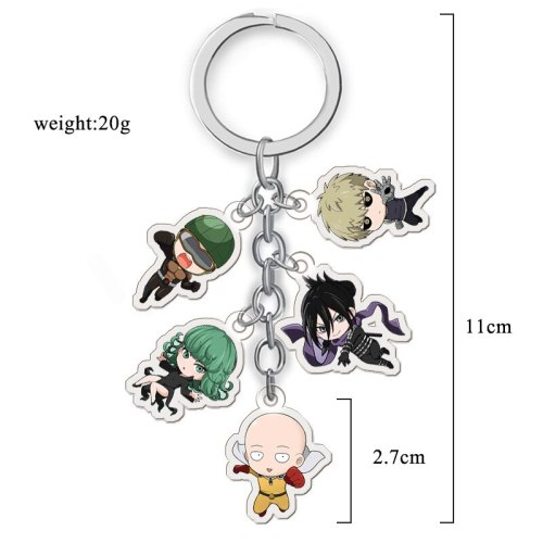 5pcs/set Anime ONE PUNCH-MAN Saitama Genos Acrylic Figure Pendant keychain Keyring Decoration Collection Model Toy