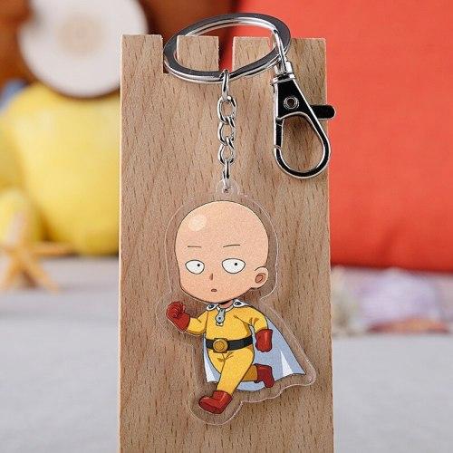 10 pcs/lot Anime One Punch Man Acrylic Keychain Toy Figure Saitama Bag Pendant Double sided Key Ring Gifts