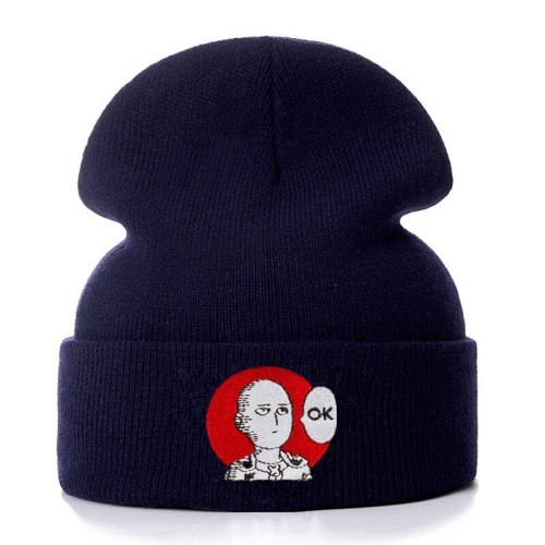 ONE PUNCH MAN OK Cotton Embroidery Casual Beanies for Men Women Knitted Winter Hat Solid Hip-hop Skullies Bonnet Unisex Cap