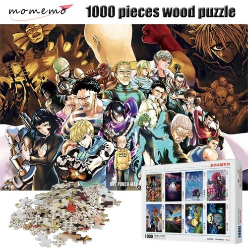MOMEMO One-Punch Man 1000 Pieces Puzzle Cartoon Anime Wooden Puzzles 1000 Pieces Puzzle Adult Entertainment Assembling Toys