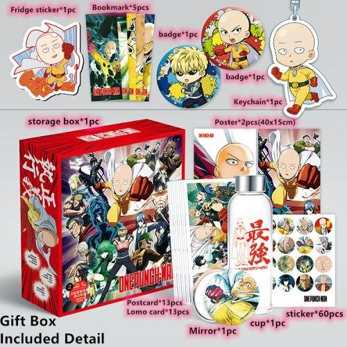 Anime ONE PUNCH-MAN Toy Gift BOX ONE PUNCH MAN Saitama Genos Keychain Postcard Badge Water Cup Bookmark Mirror  Fridge Sticker