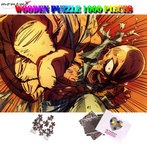 MOMEMO One Punch Man 1000 Pieces Cartoon Puzzle Toy Wooden Anime Saitama Jigsaw Puzzle Customized Adult 1000 Pieces Plane Puzzle