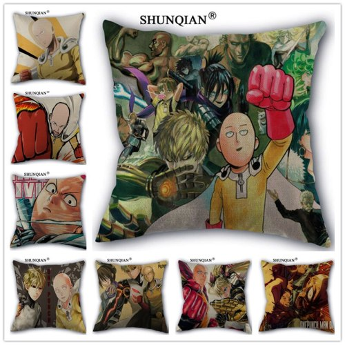 Linen Cotton ONE PUNCH-MAN Pillow Cover Custom Print Home Decorative Pillows Cases 45x45cm one side Y517-19