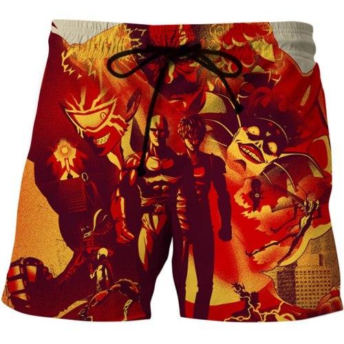 Anime Style Men's Beach Shorts One Punch Man 3D Print Streetwear Short Trunks Sport Swimwear Pants Casual Board Shorts Bottoms