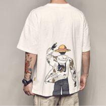 oversized One Piece Luffy anime basic Print t shirt short sleeve 2020 funny fashion Korean Harajuku student Plus size clothes
