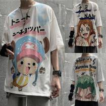 One Piece Tshirt Streetwear Casual Loose Cartoon Roronoa Zoro T shirt Funny High Street Top Tees Hip Hop Japan Chopper T shirt