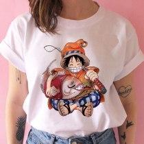 one piece t shirt women harajuku Anime 80s cartoon kawaii tshirt ulzzang summer short sleeve female t-shirt top tee new