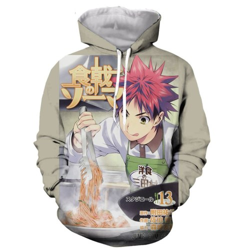 Anime Shokugeki no Soma Yukihira souma 3D printed men women hoodie fashion graphic hoodie casual streetwear pullover hoodie