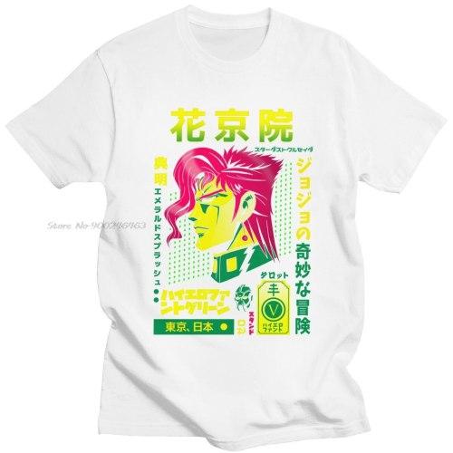 Fashion Jojo Bizarre Adventure T Shirt Men O-neck Short-Sleeve Noriaki Kakyoin T-shirt Japan Anime Manga Graphic Tee Cotton Tops