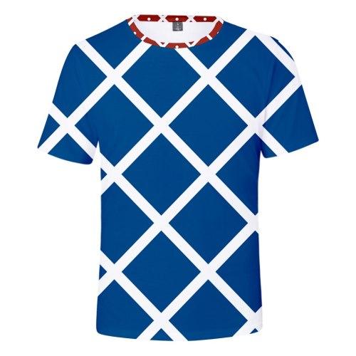 JOJO's fantastic adventure character suit 3D t shirt Men Women Fashion Short Sleeve 3D print JOJO Blue and white plaid T-shirt