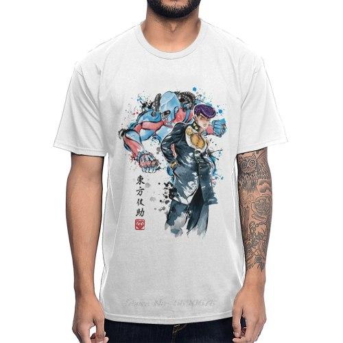 JoJo's Bizarre Adventure Retro Watercolor Design Higashikata Josuke Crazy Diamond T Shirt Cotton Tees