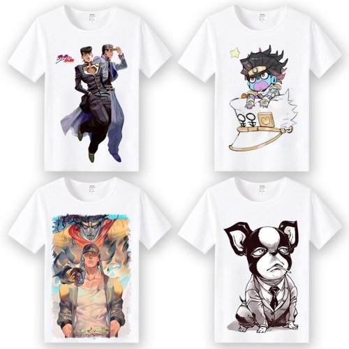 Anime JoJo's Bizarre Adventure  cosplay T-shirt Kujo Jotaro Higashikata Josuke  men t shirt Tees tops