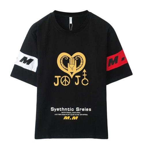 High-Q Unisex Anime JoJo's Bizarre Adventure Cotton T-shirt Tee TShirt JOJO Kujo Jotaro Cotton Casual T-shirt Tee T Shirt