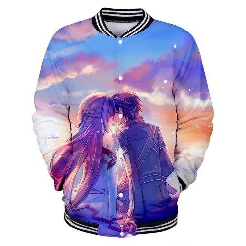 Anime Sword Art Online Baseball Jacket Coat Sweatshirt Button Up Shirt for Men Women Kids Clothes Clothing SAO Kirito Asuna