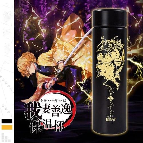 Anime Demon Slayer: Kimetsu no Yaiba Agatsuma Zenitsu Cosplay Unisex Drink water Intelligent temperature display Thermos cup