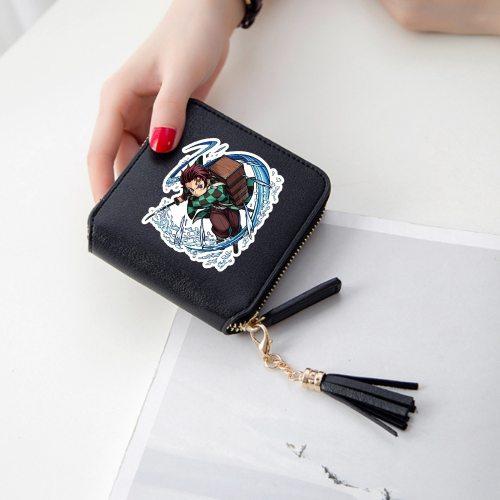 Demon Slayer Wallet with zipper Kimetsu no Yaiba Printed Short Wallet PU Leather Coin Purse Holder Wallet Card Bag Birthday Gift