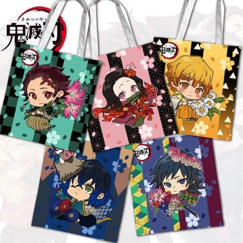 37CM Japan Demon Slayer Kimetsu no Yaiba Tanjirou Double sided printing Canvas Shopping Shoulder bag Handbag School bag