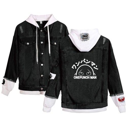 ONE PUNCH-MAN Cosplay Cowboy Coat Saitama Fashion Casual Anime Peripheral Hoodie Jean Jacket Loose Fake Two Piece