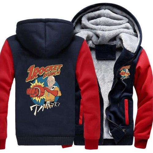 One Punch Man Japnese Anime Rocket Hero Loose Hoodies Winter Warm Street Jackets Coat Men Thick Hoodie Printed Fitted Sweatshirt