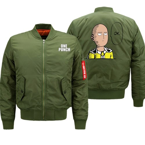 ONE PUNCH Streetwear Jacket Men Military Army Costume Bomber Tracksuit Male Casual Coat Zipper Sports Coat High Quality Tops 8XL