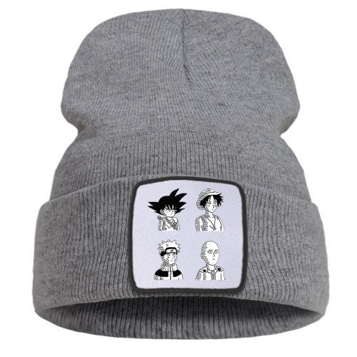 Naruto Dragon Ball Knitted Hats One Piece One Punch Man Anime Bonnet Cap Men Warm Casual Beanie Caps Women Outdoor Winter Hat
