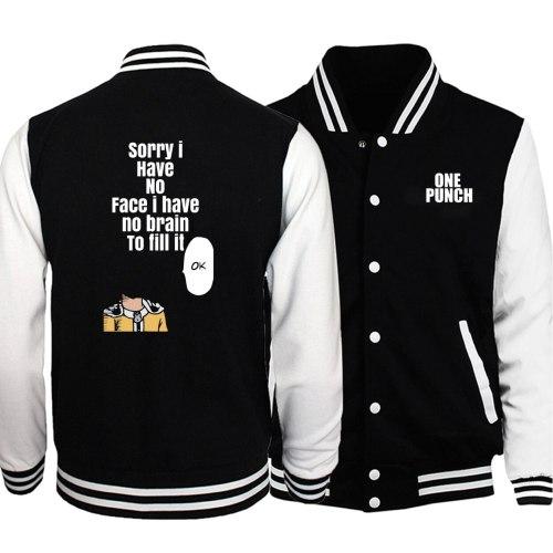 One Punch Man Saitama Baseball Jacket Men Hero Funny OK Jackets Japan Anime Coats Winter Autumn Fleece Warm Harajuku Sportswear