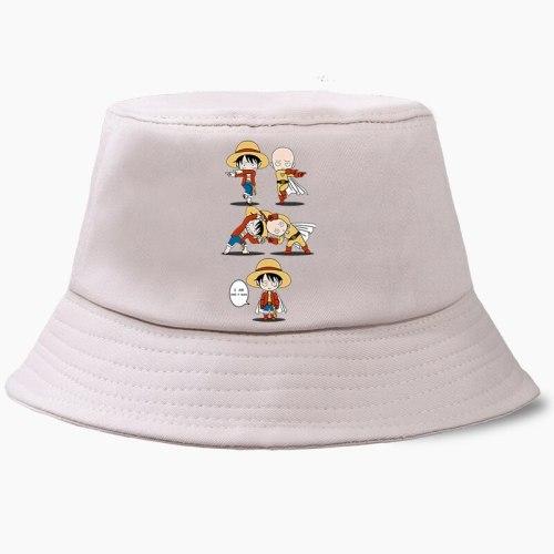 One Piece Luffy One Punch Man Saitama Fusion Fisherman Hat Fishing Cap Bucket Hats Panama Men Women Bob Chapeau Sun Prevent Caps