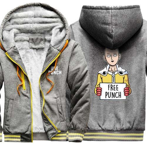 One Punch Fashion Wool Liner Mens Hoodies Hooded Brand Tracksuits Homme Top Winter Jackets Patchwork Warm Moletom Masculino
