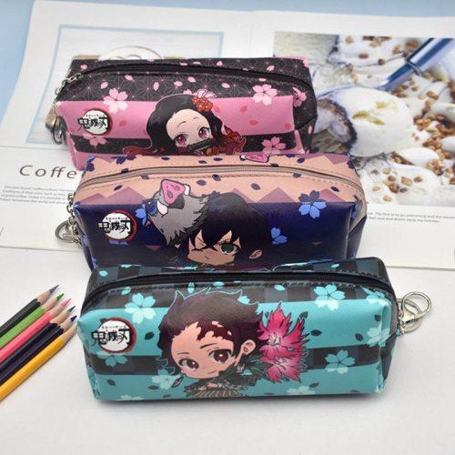 Anime Demon Slayer: Kimetsu no Yaiba Pencil Bag  Zipper Canvas Students Pencil Bag Wallet Storage Bag Stationery School Supplies