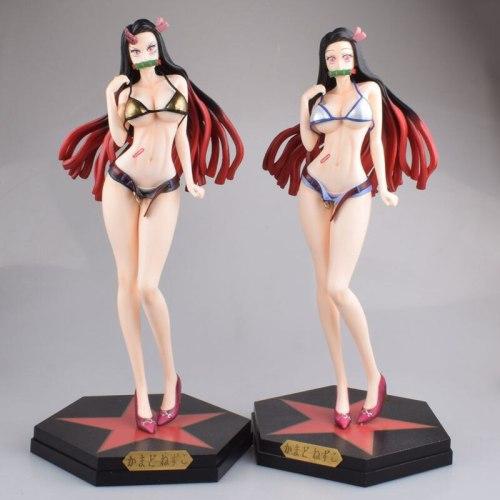 34cm Demon Slayer Kimetsu No Yaiba Action Figure Anime Trendy Brand Blue Black Swimsuit PVC Collection Model Dolls Toy for Gifts