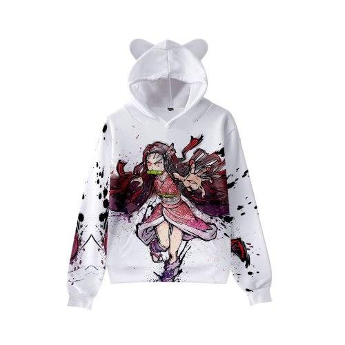 Children 3D Anime Demon Slayer Hoodie Boys Girls Hooded Autumn Anime Kimetsu no Yaiba Kawaii Cat Ears Kids Hoodie Tracksuits Top