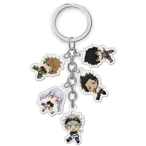 Anime Black Clover Keychain Cartoon Figure Asta Yuno Noell Silva Yami Magna Acrylic Pendent Keyring