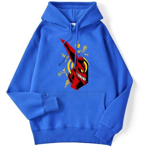 Japan Anime Naruto Kurama Printing Mens Hoodie Creativity Loose Pullovers Autumn Fleece Streetwear Casual Warm Man Clothing New