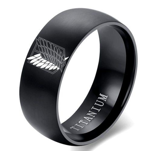 8mm Attack on Titan Black sliver Stainless Steel Ring Wings Of Liberty Flag Finger Rings For Men Women Jewelry Anime Fans