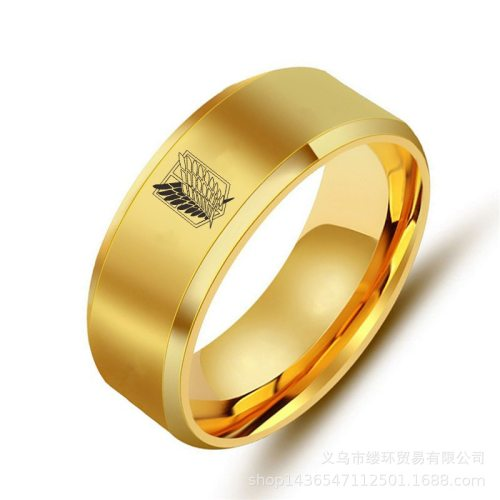 5 colors Attack on Titan Black  sliver Stainless Steel Ring Wings Of Liberty Flag Finger Rings For Men Women Jewelry Anime Fans