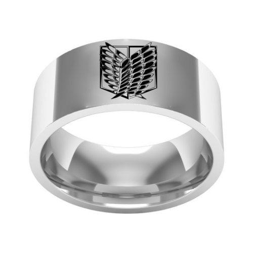 8mm Size 6-13 Titanium Steel Anime Attack on Titan Rings for Men Punk Giant Flag Black Sliver Finger Wedding Rings Fans Gift