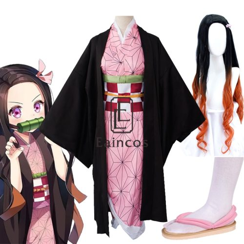 Anime Demon Slayer Kimetsu no Yaiba Kamado Nezuko Kimono Uniform Cosplay Halloween Party Costume Full Set