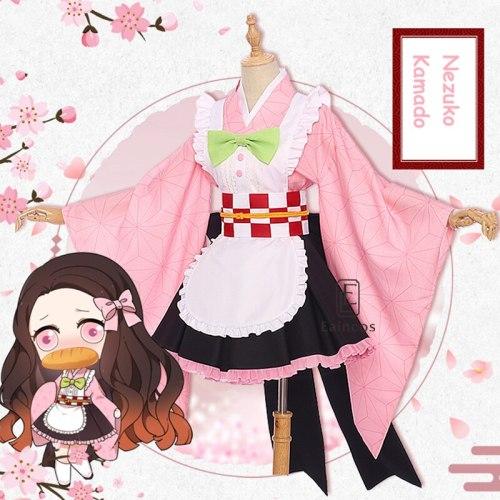 Anime Demon Slayer Kamado Nezuko Kanroji Mitsuri Kochou Shinobu Tsuyuri Kanawo Cosplay Maid Kimono Uniforms Wig Costume