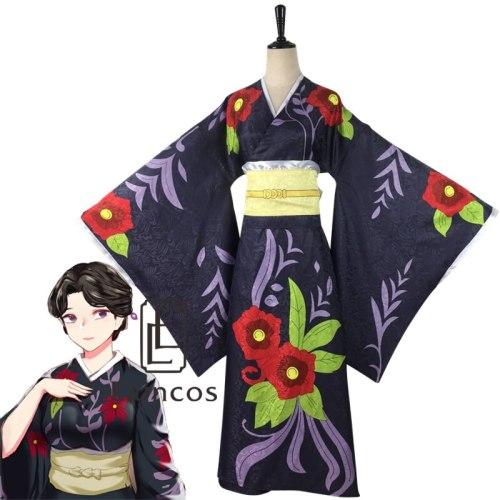 Anime Demon Slayer Kimetsu no Yaiba Tamayo Cosplay Costume Kimono Uniforms Clothes Women Dresses