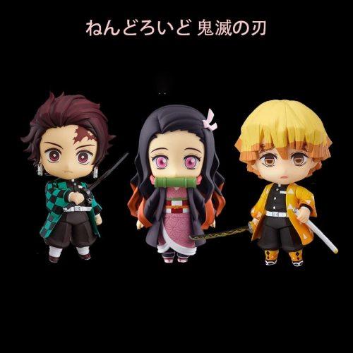 Anime Demon Slayer Kamado Tanjirou Agatsuma Zenitsu Kochou Shinobu Kimetsu no Yaiba PVC Action Figure Toys Collection Doll Gift
