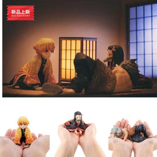 9cm Demon Slayer Kamado Tanjirou Agatsuma Zenitsu Kamado Nezuko Anime Figure Kimetsu no Yaiba PVC Action Figure Toys Gift