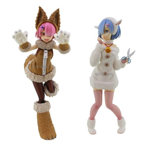 Super Special Rem Anime Re:Life In A Different World From Zero Rem Ram Wolf and Seven Little Goats Ver. PVC Action Figure 20cm
