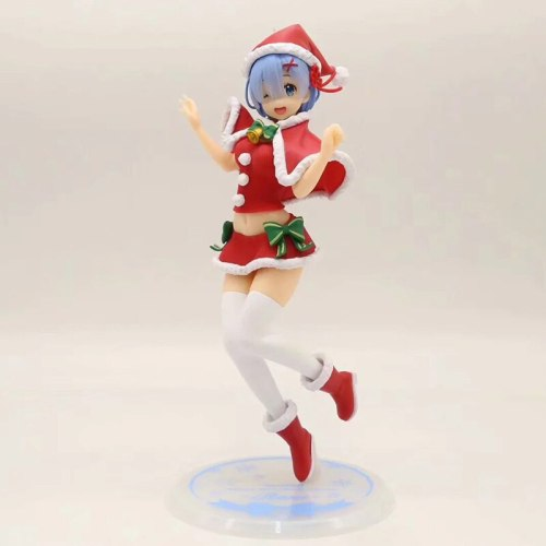 23cm Rem Anime Re:Life In A Different World From Zero EXQ Rem Christmas Costume Ver PVC Action Figure Figurine Model Toys Gift
