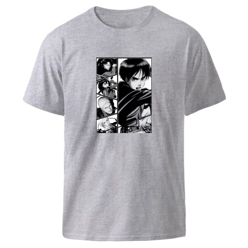 Attack On Titan Print T shirts Mens Anime Oversized Tops Summer Short Sleeve Black Kpop Hip Hop Streetwear Clothes Fashion Tee
