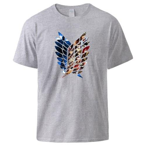 Attack on Titan Print T shirts Man Summer Short Sleeve Cotton Tee shirts Shingeki No Kyojin Streetwear Oversize Tops Black Tee