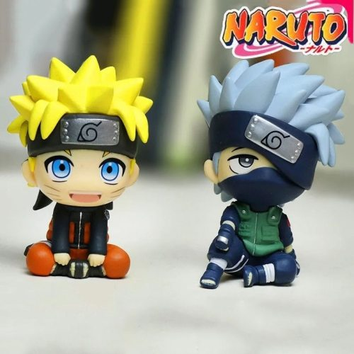 Action Anime Naruto 8cm Figure Toys For Children Sitting Naruto Kakashi Cute Doll Car Accessories Animation Peripheral Gift Toys