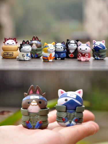 Action 8 Pcs/set Naruto Figurine Toys For Children 3cm Shikamaru Gaara Handmade Kitten Naruto Kakashi Sakura Mini Dolls Desk Toy
