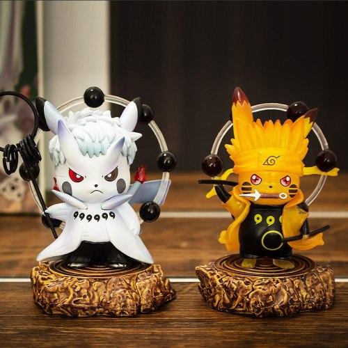 Action Anime Naruto Gk Figure Pikachu Cos Naruto Rikudo Sennin Hagoromo Ootsutsuki Model Doll 9.5cm Desk Decor Collectible Toys