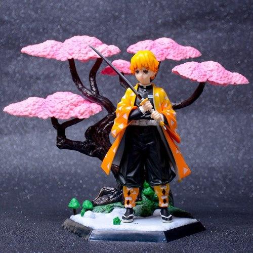 19 Cm Anime Demon Slayer Figure Nezuko Tanjirou Zenitsu Kimetsu Cherry Tree Collectible Action Figure PVC Model Doll Toys Youth