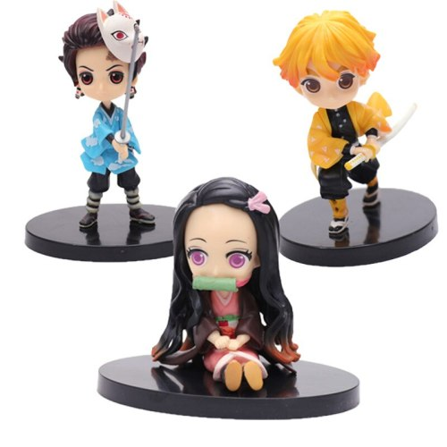 Anime Toys Demon Slayer Q Version Tanjirou Models Nezuko Zenitsu Tomioka Giyuu Figures Q Version Clay Doll Collection Ornaments
